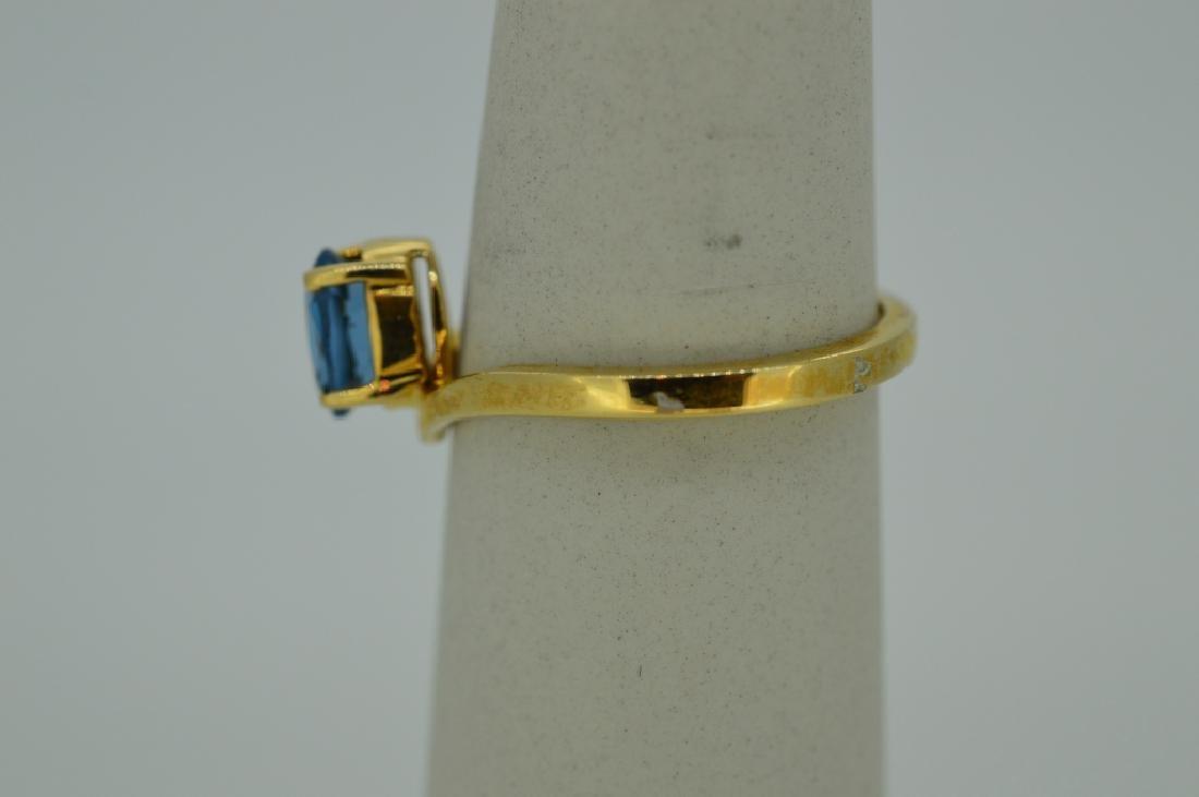 Blue Topaz & 14K Yellow Gold Ring Size 7 Blue Topaz & - 3