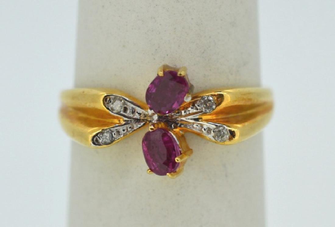 18K Yellow Gold Ruby & Diamond Butterfly Ring 18k