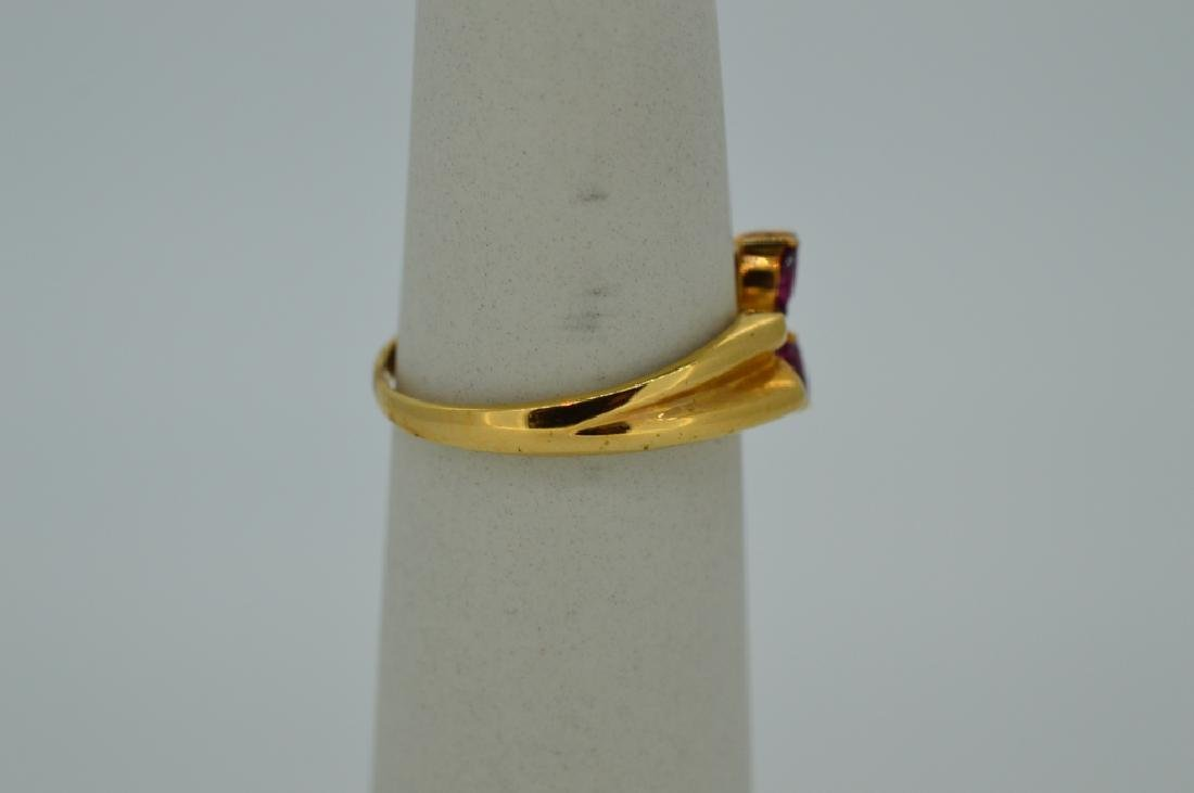 18K Yellow Gold Ruby & Diamond Butterfly Ring 18k - 2