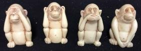 4 Wise Monkey Figurines See No Evil, hear no evil,