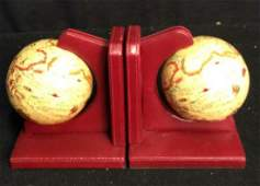 Pair World Globe and Leather Bookends Vintage desk