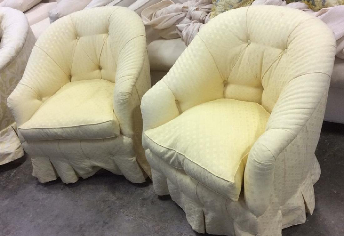 Pair Upholstered Swivel Tub Chairs Swivel Tub Chairs