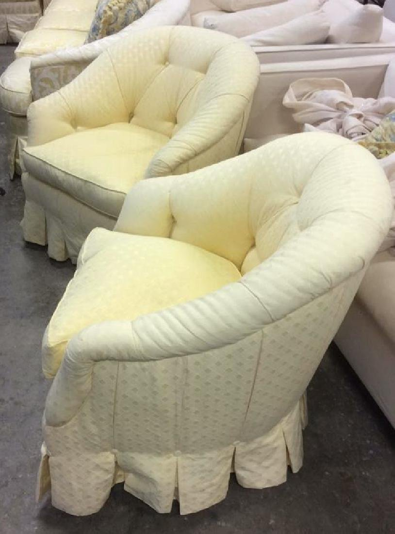 Pair Upholstered Swivel Tub Chairs Swivel Tub Chairs - 7