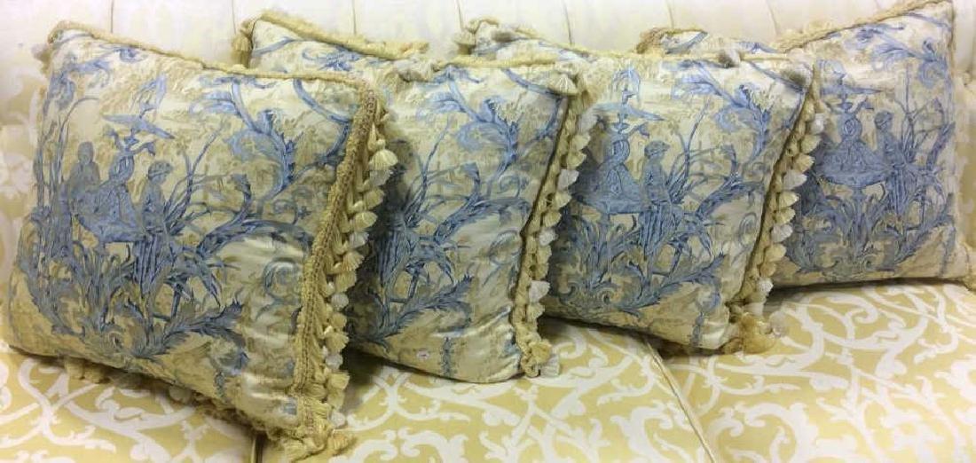 Set 4 Blue Yellow Toile Down Pillows Custom made Down