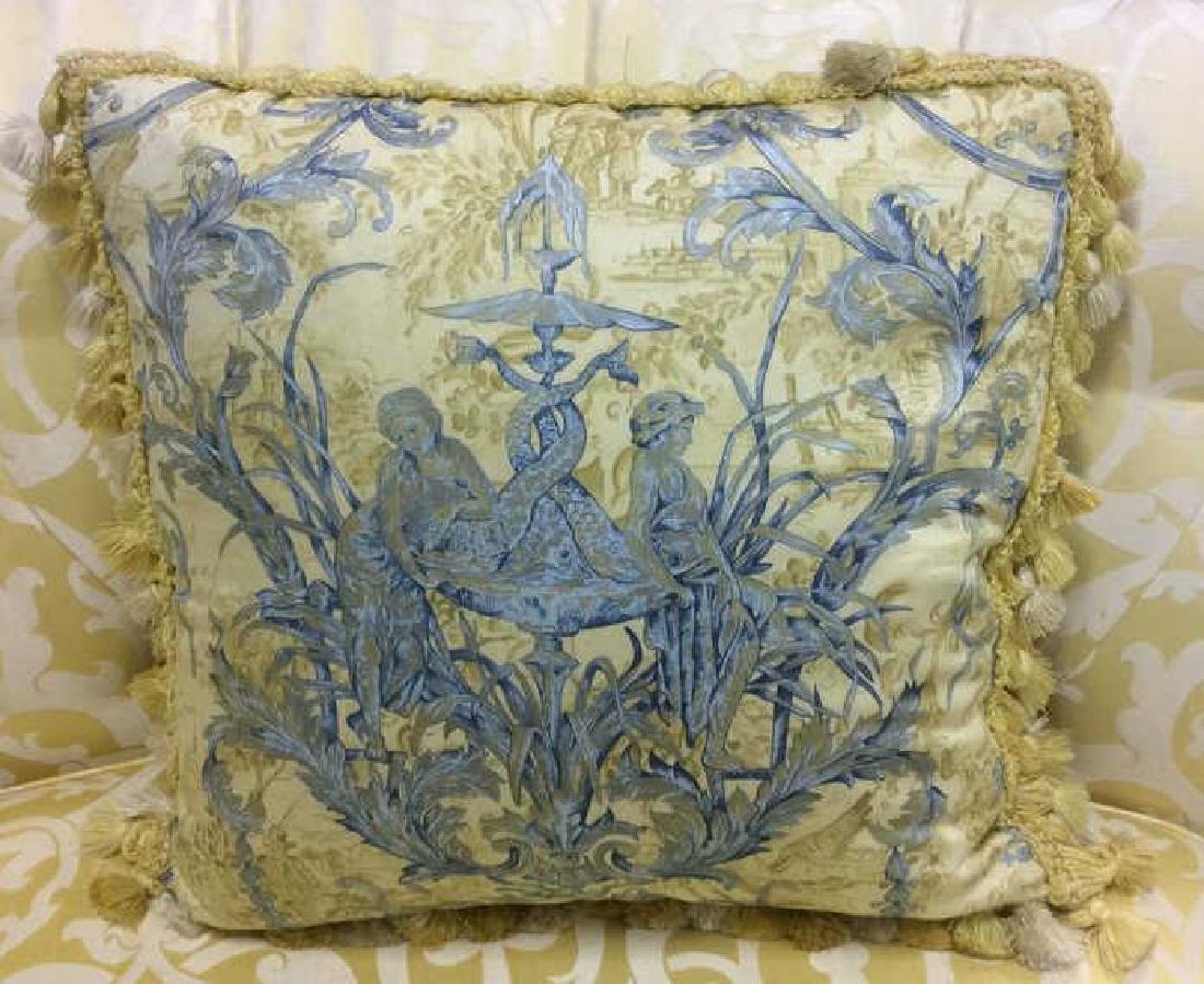 Set 4 Blue Yellow Toile Down Pillows Custom made Down - 2