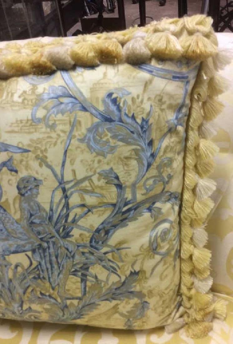 Set 4 Blue Yellow Toile Down Pillows Custom made Down - 5