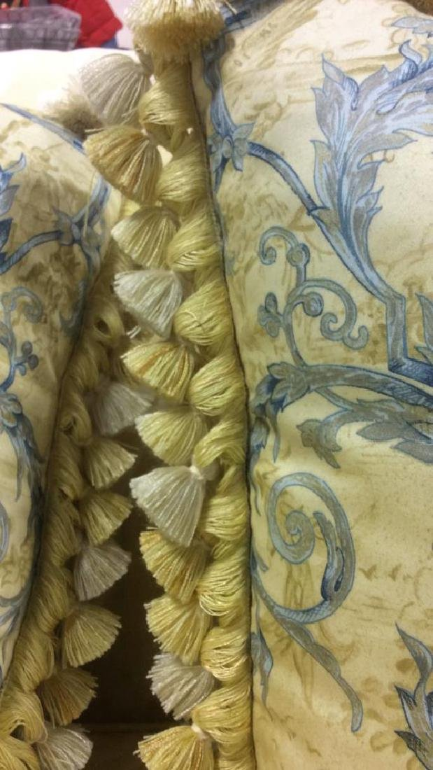 Set 4 Blue Yellow Toile Down Pillows Custom made Down - 8