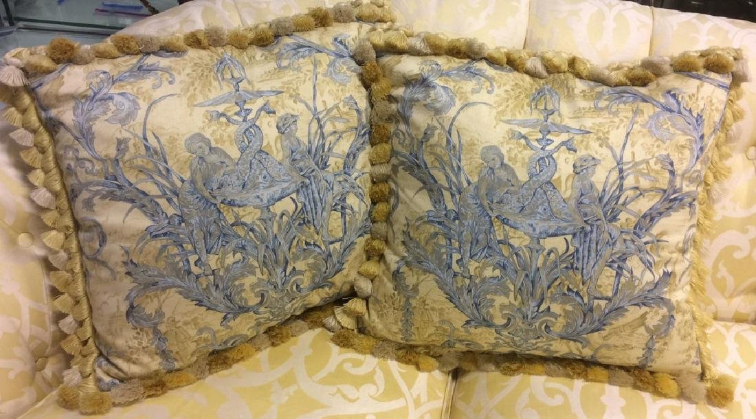 Pair Custom Down Toile Throw Pillows Tasseled Pair of