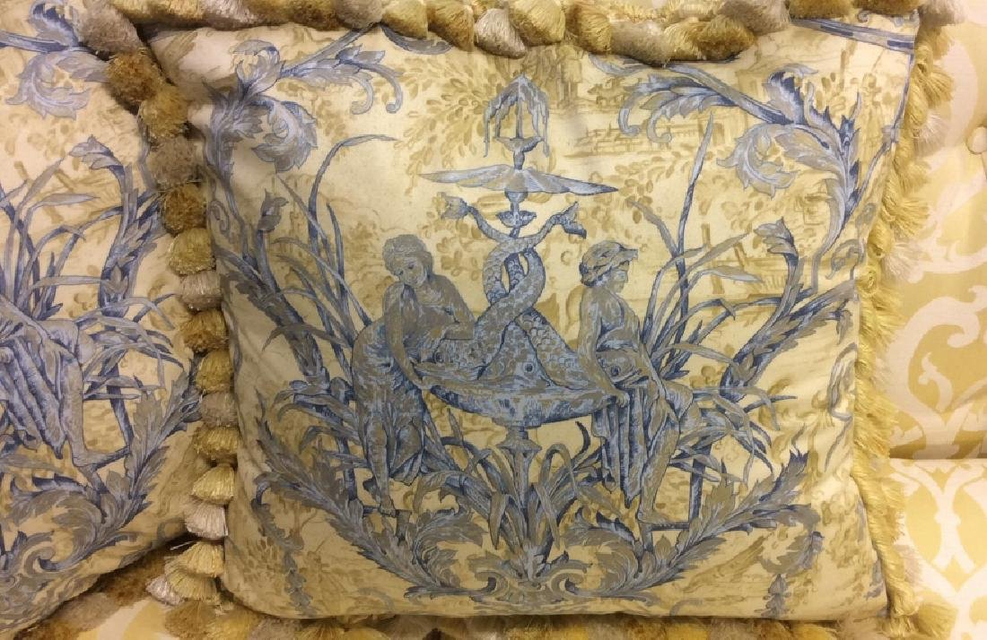 Pair Custom Down Toile Throw Pillows Tasseled Pair of - 2