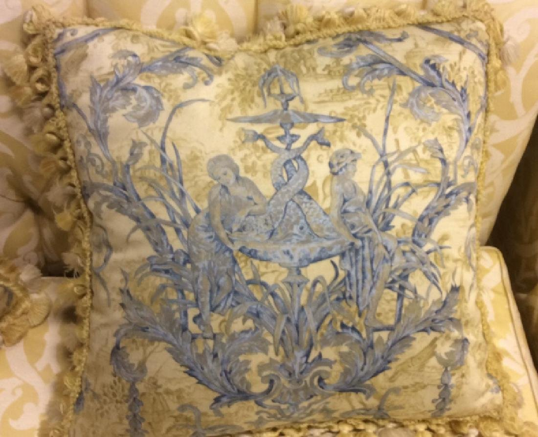 Pair Custom Down Toile Throw Pillows Tasseled Pair of - 6