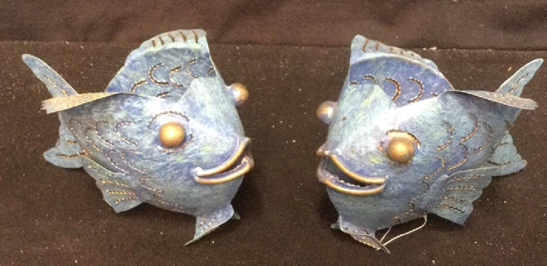 Pair of Metal Bubble Fish Candle Holders Pair of denim