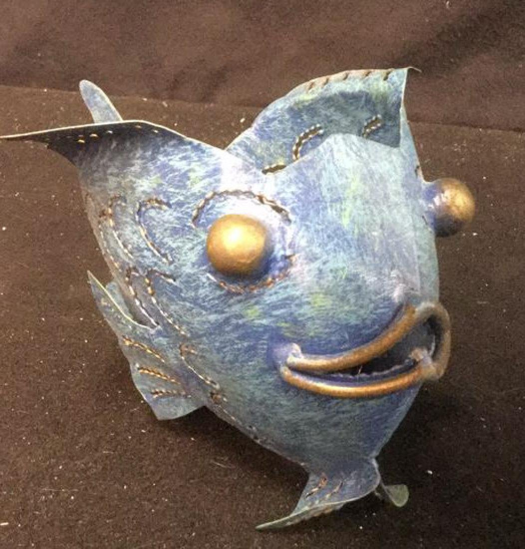 Pair of Metal Bubble Fish Candle Holders Pair of denim - 2