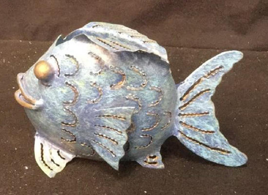 Pair of Metal Bubble Fish Candle Holders Pair of denim - 3