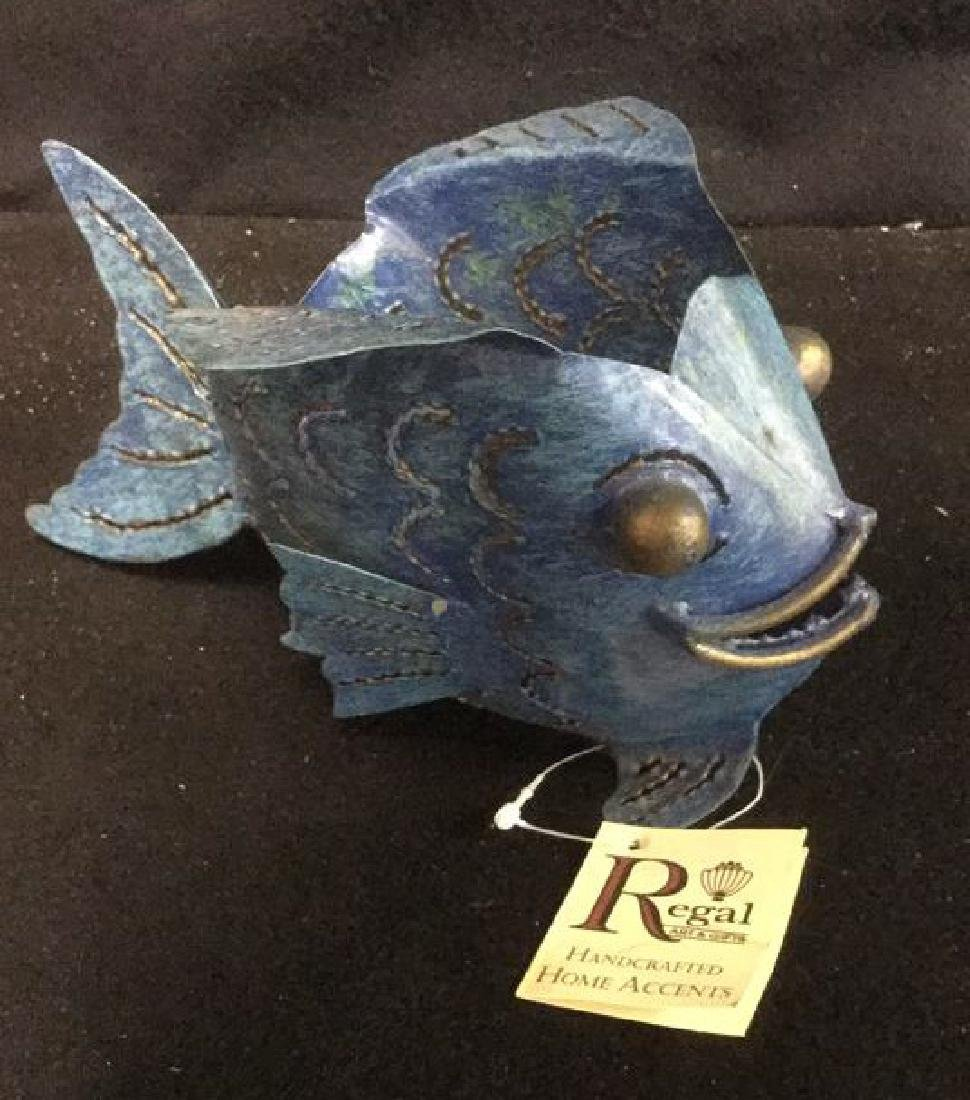Pair of Metal Bubble Fish Candle Holders Pair of denim - 6