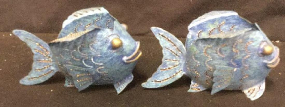 Pair of Metal Bubble Fish Candle Holders Pair of denim - 7