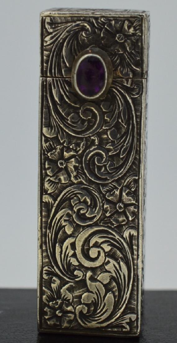 Silver Victorian Lipstick Case Unique .880 Silver with