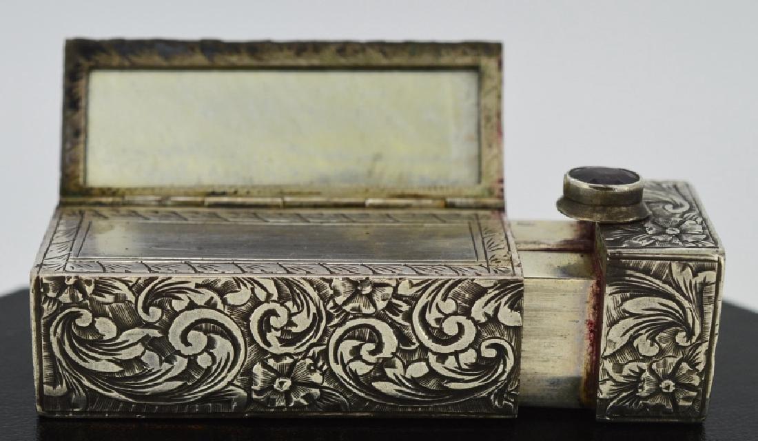 Silver Victorian Lipstick Case Unique .880 Silver with - 2