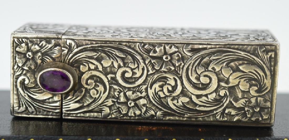 Silver Victorian Lipstick Case Unique .880 Silver with - 3