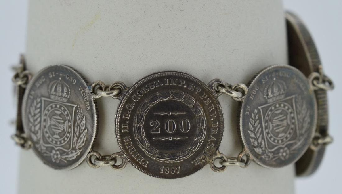 19th Century Silver Coin Bracelet .900 Silver, - 3