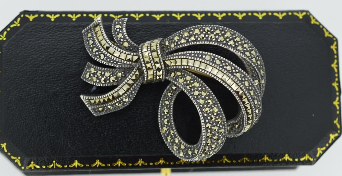 VintageMarcasiste Sterling Silver Bow Pin Makers mark - 2