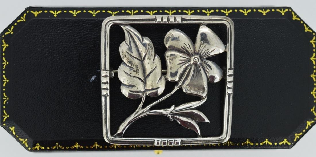 Vintage Sterling Flower Brooch Square shape, measures 1