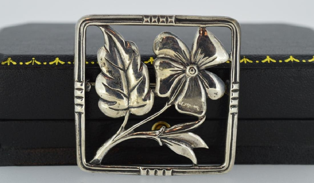 Vintage Sterling Flower Brooch Square shape, measures 1 - 3