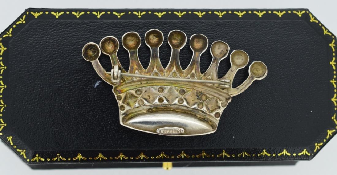 Vintage Sterling Tiara Brooch 8 point Tiara crown in - 2