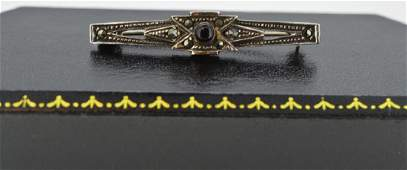 Vintage Art Deco Marcasite  Black Onyx  Sterling 925