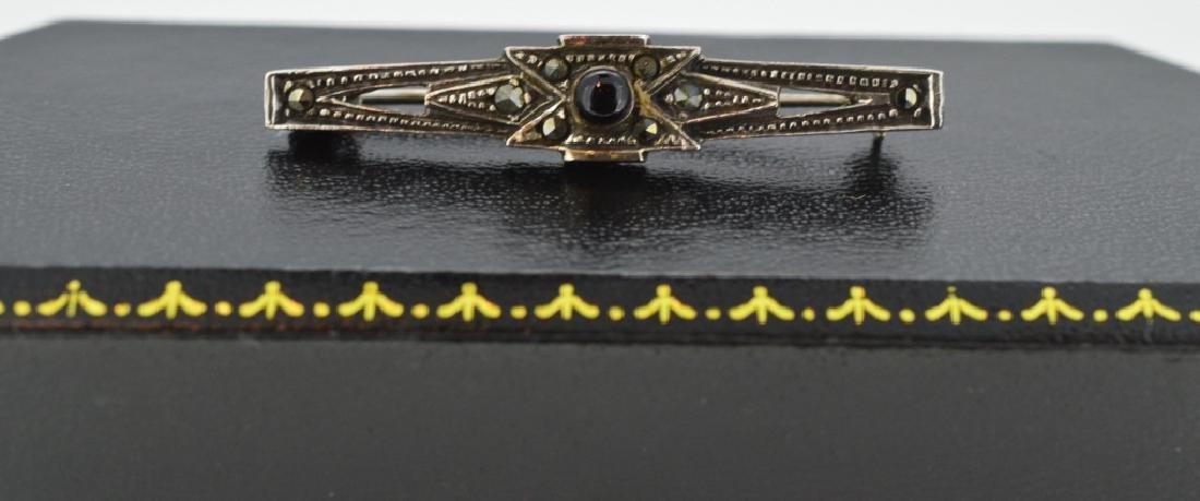 Vintage Art Deco Marcasite & Black Onyx , Sterling .925
