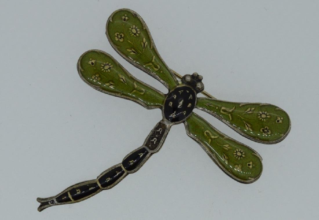 Vintage Dragon Fly Pin  stamped by maker Fabulous - 2