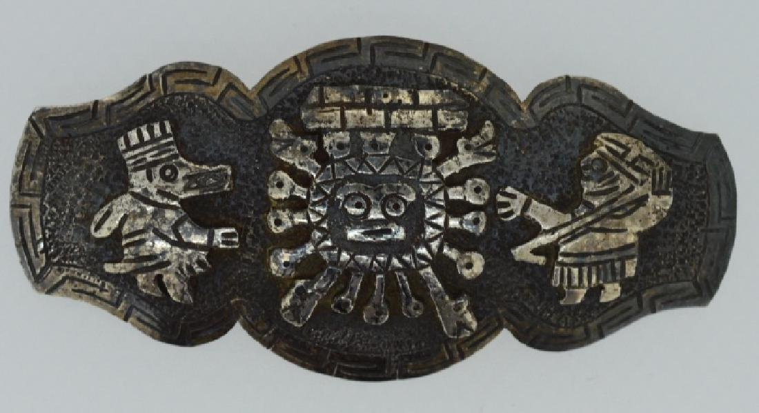 """Vintage Aztec Brooch Pin stamped 900, approx 3"""" ,"""