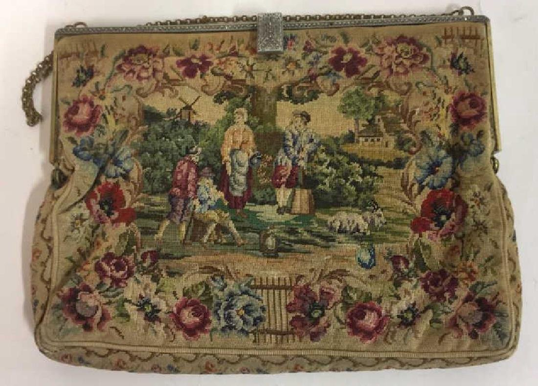 Antique Petit Point Tapestry Evening Bag Tapestry of