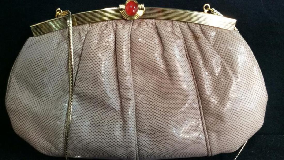 Judith Lieber Vintage Taupe Snake Skin Purse Soft Snake - 2