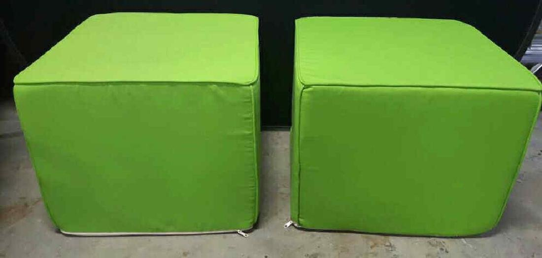 Pair of Lime Green Foam Ottomans Pair of Lime Green