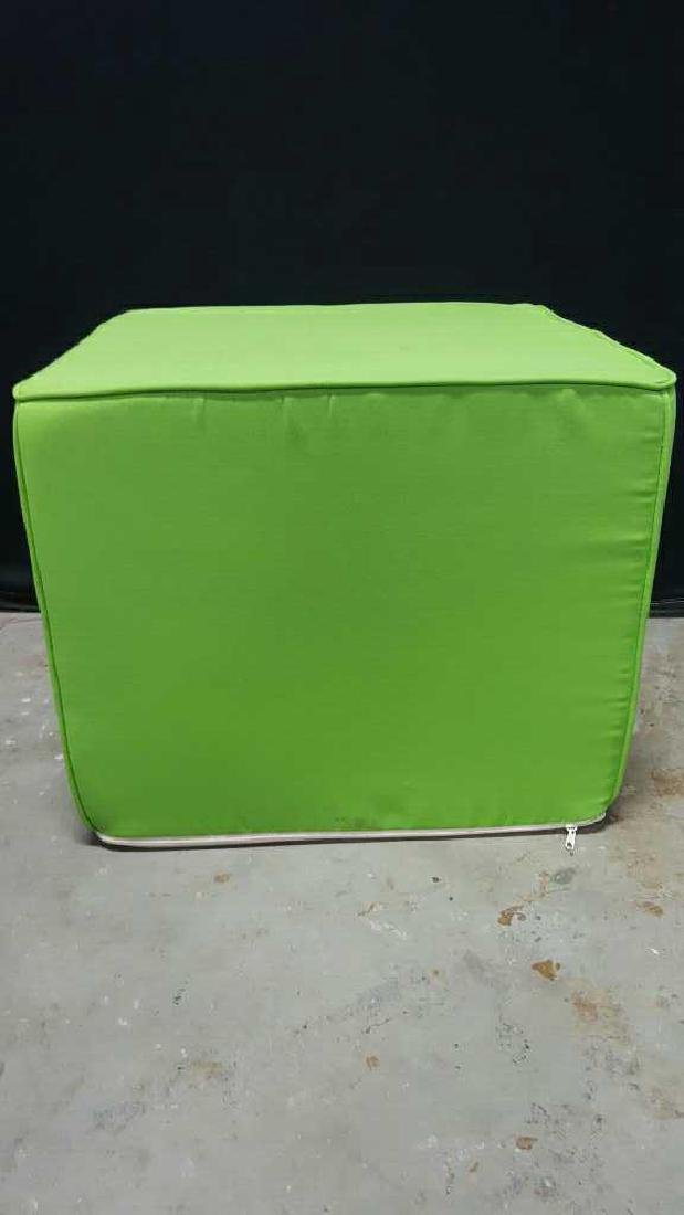 Pair of Lime Green Foam Ottomans Pair of Lime Green - 2
