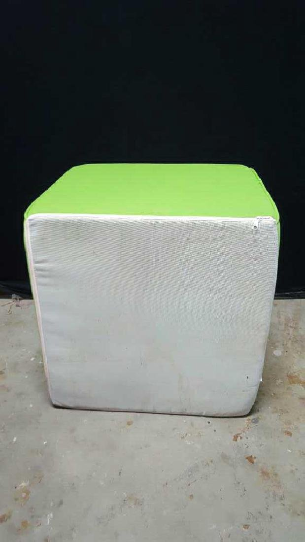 Pair of Lime Green Foam Ottomans Pair of Lime Green - 3
