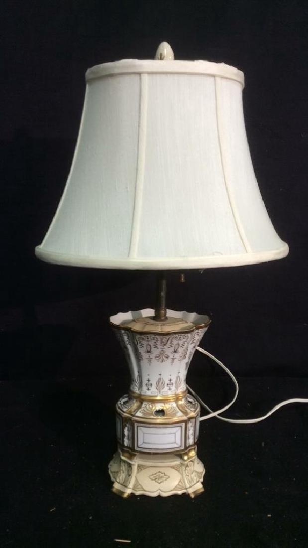 Vintage. gold White Hand Painted Porcelain Lamp - 2