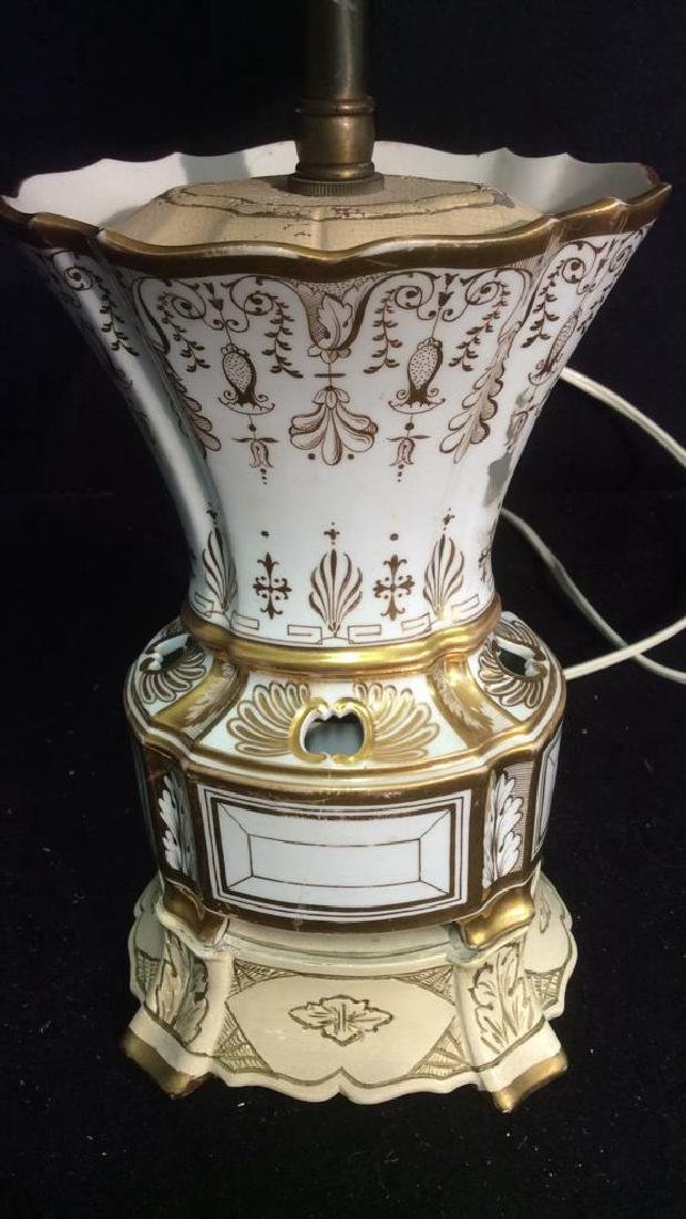 Vintage. gold White Hand Painted Porcelain Lamp - 3