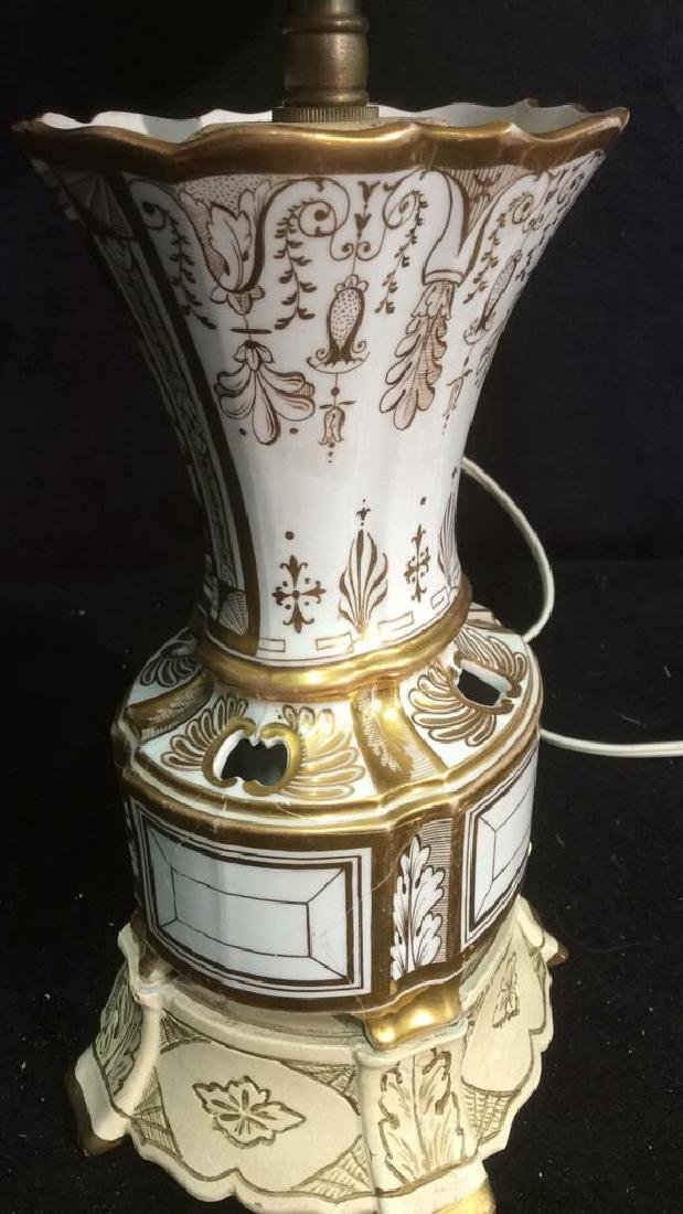 Vintage. gold White Hand Painted Porcelain Lamp - 5