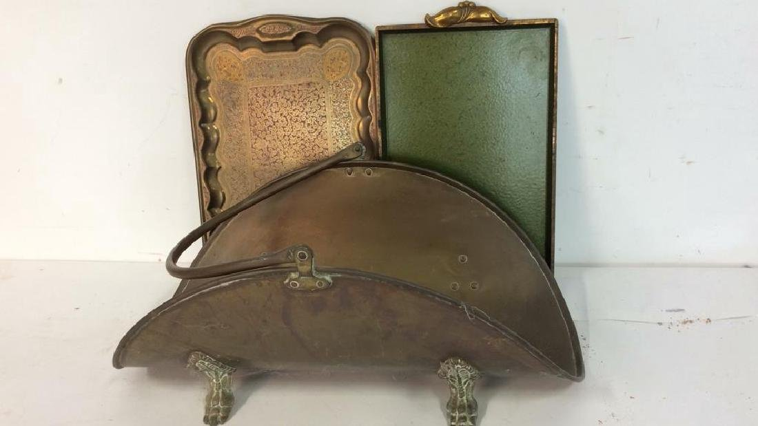 Vintage Brass Trays And Log Holder Footed brass