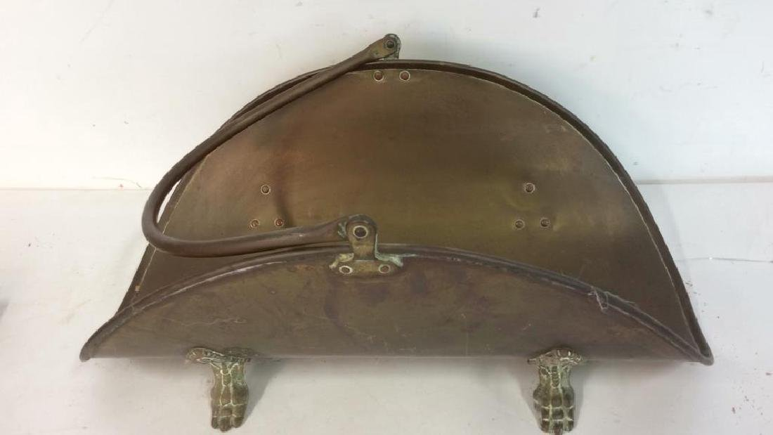 Vintage Brass Trays And Log Holder Footed brass - 2