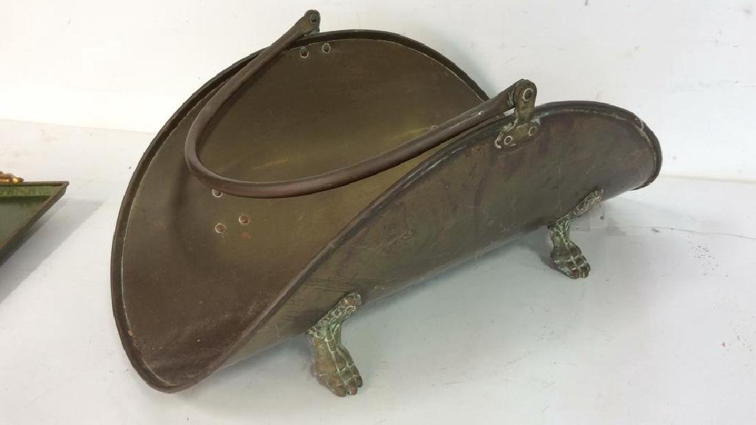 Vintage Brass Trays And Log Holder Footed brass - 3