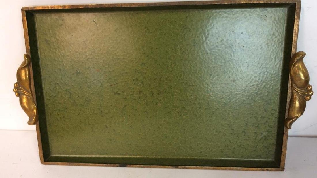 Vintage Brass Trays And Log Holder Footed brass - 4