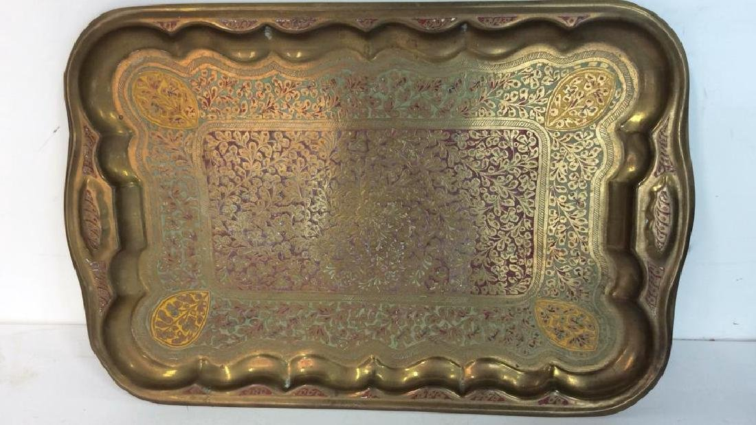 Vintage Brass Trays And Log Holder Footed brass - 7