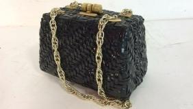 Vintage Black Patent Leather Weave Purse Vintage purse,