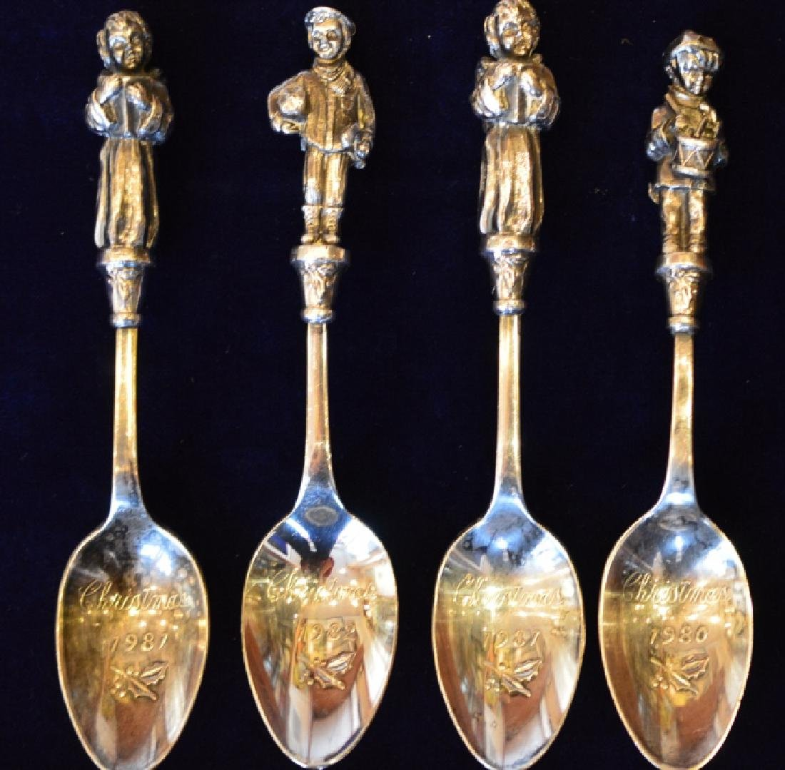 Silverplate Christmas Spoon Set Set of 4 Engraved