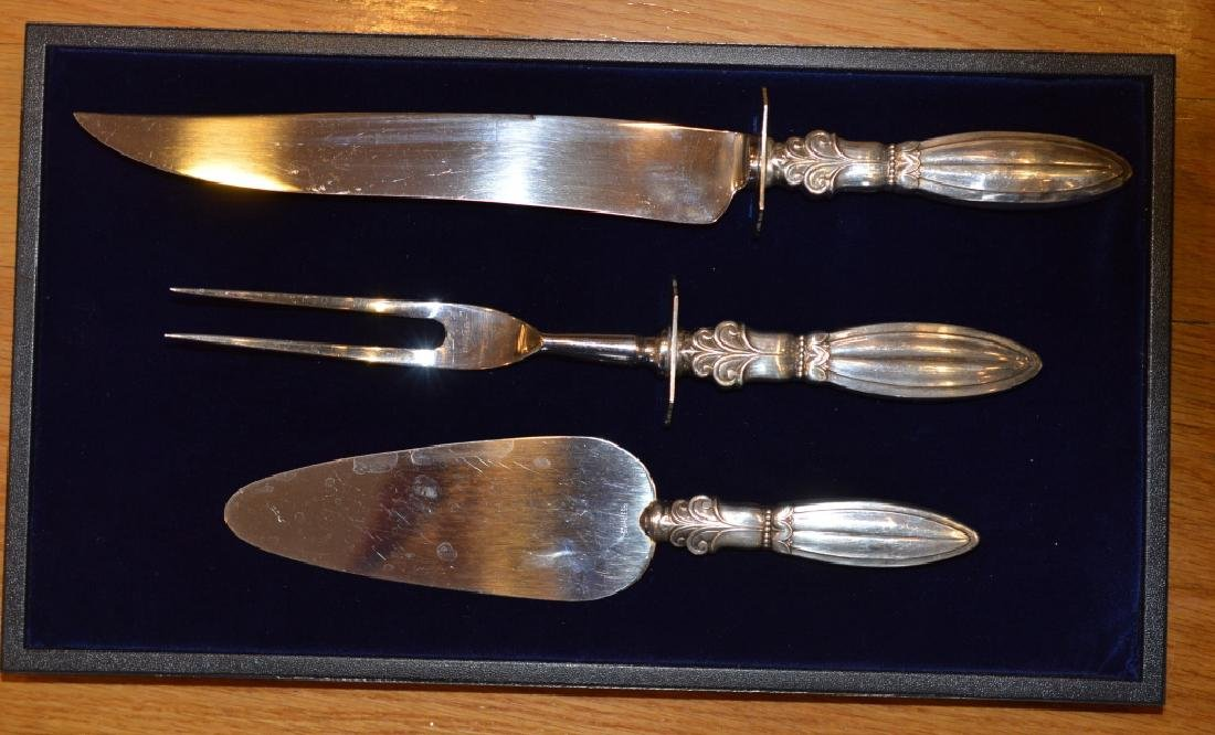 3 Piece Stainless Steel & Sterling Utensil Set Includes
