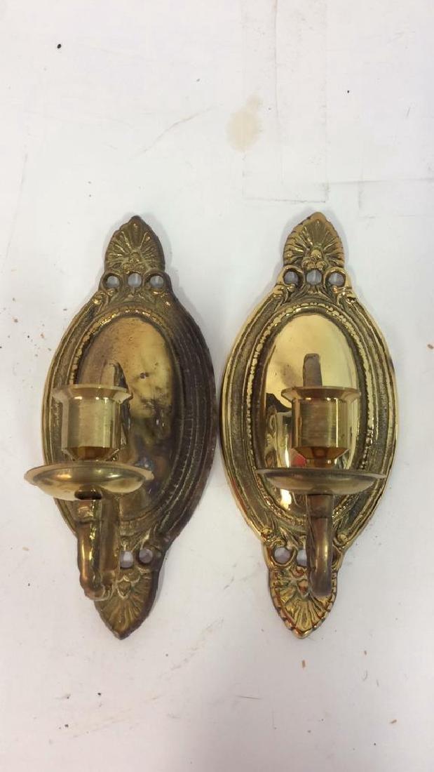 Pair Single Candle Brass Sconces Vintage Brass Sconces