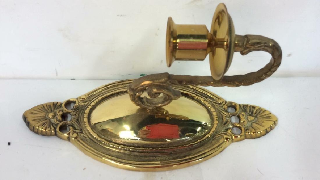Pair Single Candle Brass Sconces Vintage Brass Sconces - 3