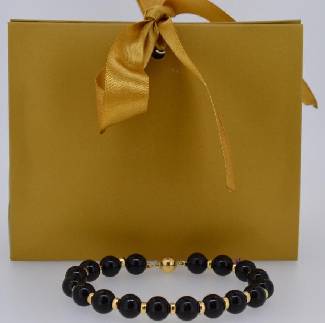 "Black Onyx & 14k Gold Bracelet 7 1/2"", 8.5MM Beaded - 3"